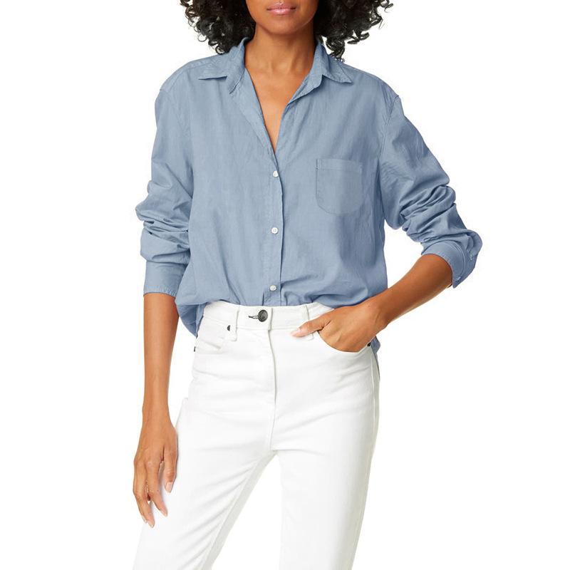 Kadınlar Casual Uzun Kollu Ofis Bluz 2020 Katı Renk Toplama Yaka Gömlek Gevşek Cep Bluzlar Tunik blusas Mujer Tops