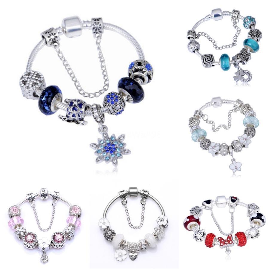 New Fit Pandoras Moments 925 Bracelet en alliage Mesh tissage femmes Diy vert Clover perles charme chaîne Bijoux Saint Valentin cadeau # 676