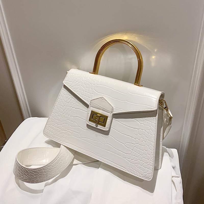 Con modello da donna in coccodrillo nuova borsa 2020 sacchetto cinturino in PU la qualità delle borse in pelle larga maniglia a spalla spalla mesti in metallo igtku