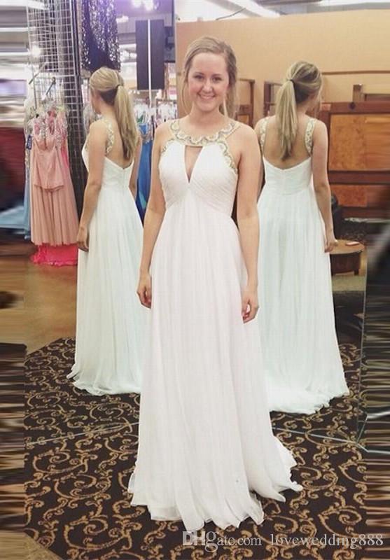 2019 frisado buraco da fechadura do pescoço vestidos de baile com zíper sexy back maid of honor vestido longo ruched chiffon vestidos de festa à noite