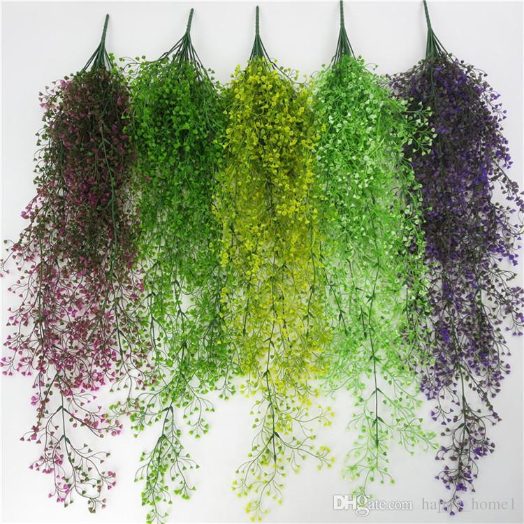 Vine artificial flor de mimbre Guirnaldas Cestas colgantes Plantas oficina en casa Boda exterior Jardín Decoración de pared 110 cm