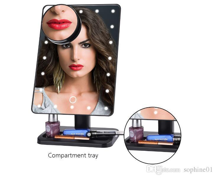 Горячие Bluetooth Speaker 20 светодиодов Свет зеркало для макияжа Столешница Make Up Comestic Регулируемое Суета Зеркало с 10-кратным увеличением