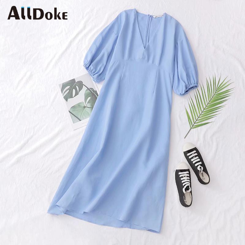 ALLDOKE blu di estate delle donne vestito lungo maxi abiti casual alti della vita delle signore del cotone del manicotto V del collo della lanterna ufficio Una linea vestidos