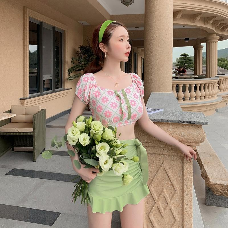 2020 maillot de bain split femme robe taille basse femme conservatrice maillot de bain de vacances printemps chaud trois pièces