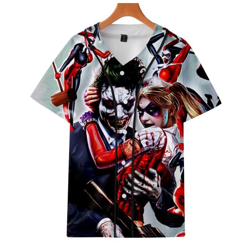 Ха-ха Джокер 3d печатных Бейсбол футболка мужская летняя V-образным вырезом с короткими рукавами футболки дамы 3D футболка мода улица топ хип-хоп