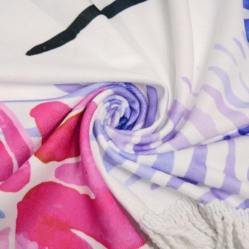 2019 Мода Круглый Пляж Полотенце с кисточки 450G микрофибры 150см пикника Йога Одеяло Бикини Cover Up Гобелен