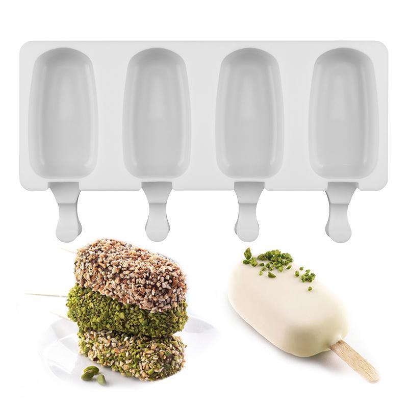 Hohlräume Silikon DIY Gefrierschrank Easy Creme Mini Eis Creme Stangenform Set Machen Werkzeugsaft Eiseneinrichtungsformen Kinder Pop Lolly Tray Eiswürfelmacher