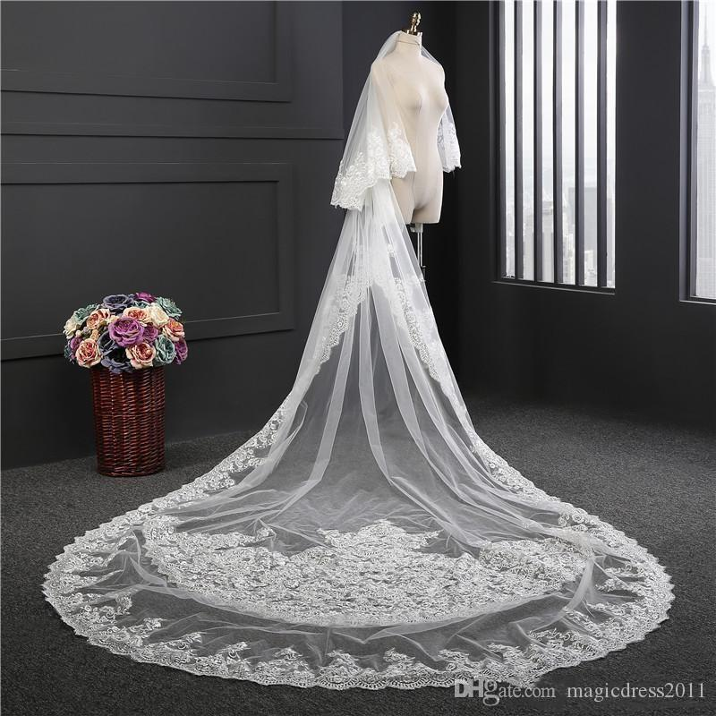 Custom Made Two Tiers Long Cathedral Wedding Veils With Lace Applique Trim Soft Tulle Real Image Bridal Veil