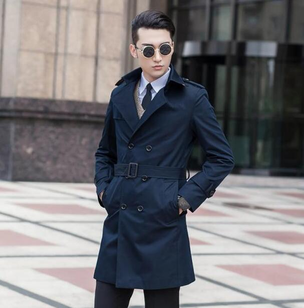 High quality slim trench coat men overcoat mens clothin double breasted outerwear casaco masculino casual dark blue 9XL
