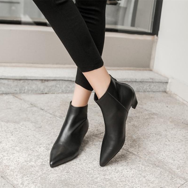 venta al por mayor diseñador de moda elige auténtico Compre COOTELILI Botines Mujer Tacones Zapatos Casuales Mujer Suave Botas  Negras De Cuero Para Mujer Motocicleta Botas Mujer Punta Estrecha A $38.9  ...