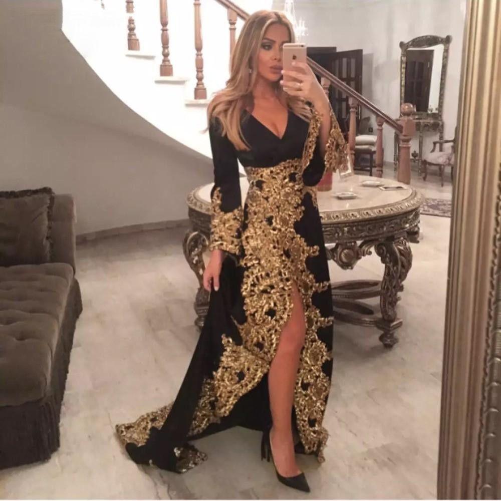 Saudi Árabe Negro Vestidos de Noite Longa Mangas de Ouro Laço Applique Sexy V-decote Side Split Dubai Prom vestido formal Robe de Soiree