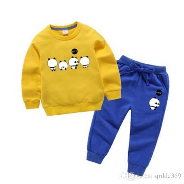 2020 Yeni klasik Lüks Tasarımcı Bebek t-shirt ceket Pantolon Iki parçalı 2-9 yıl olde Suit Çocuklar moda çocuk 2 adet Pamuk Giyim Setleri