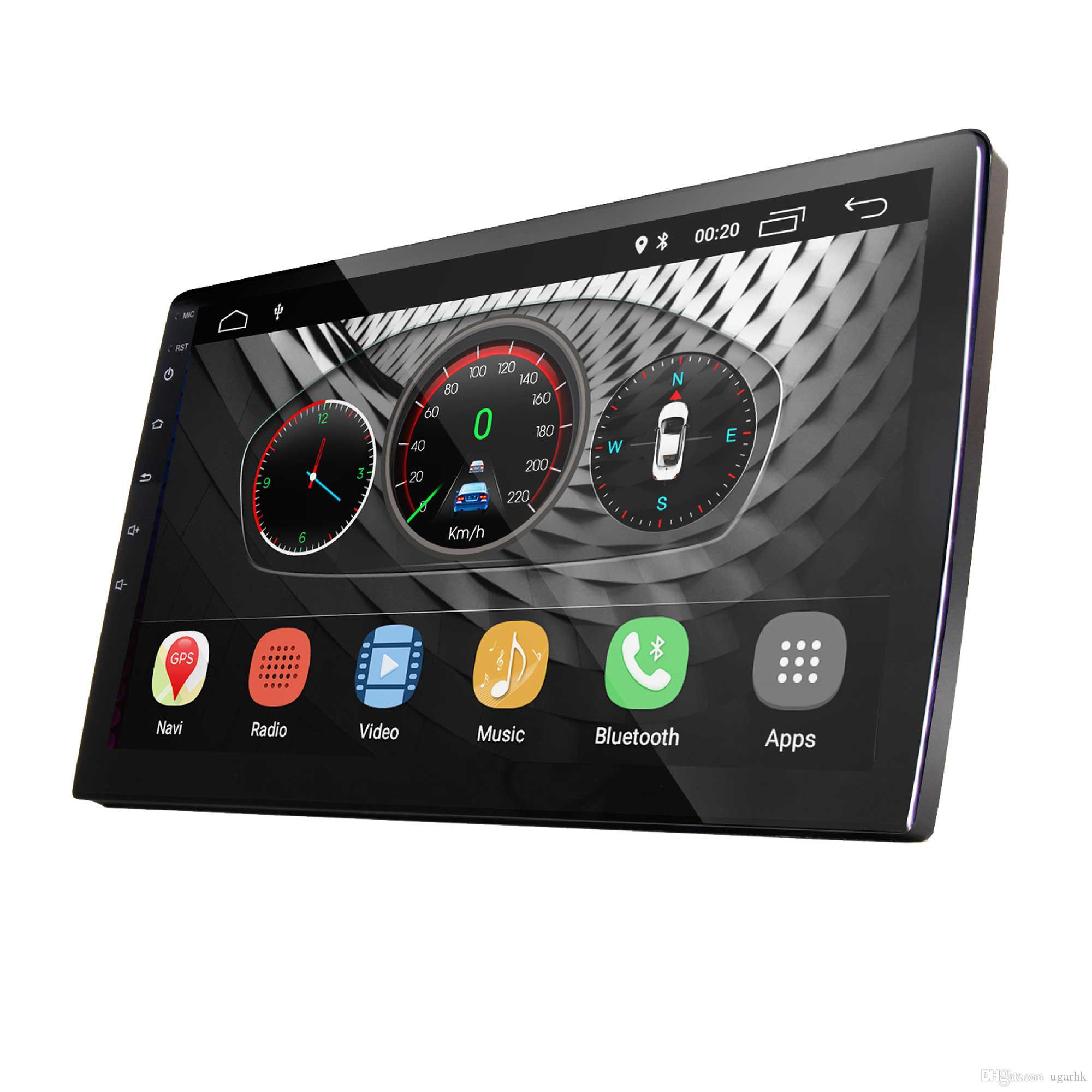 UGAR 10.1 inç Evrensel Genişletilmiş Araba DVD Android 8.1 Kafa Ünitesi DDR 2 GB Çift Din Araba Ses Bluetooth WiFi ile Indash GPS Navigasyon