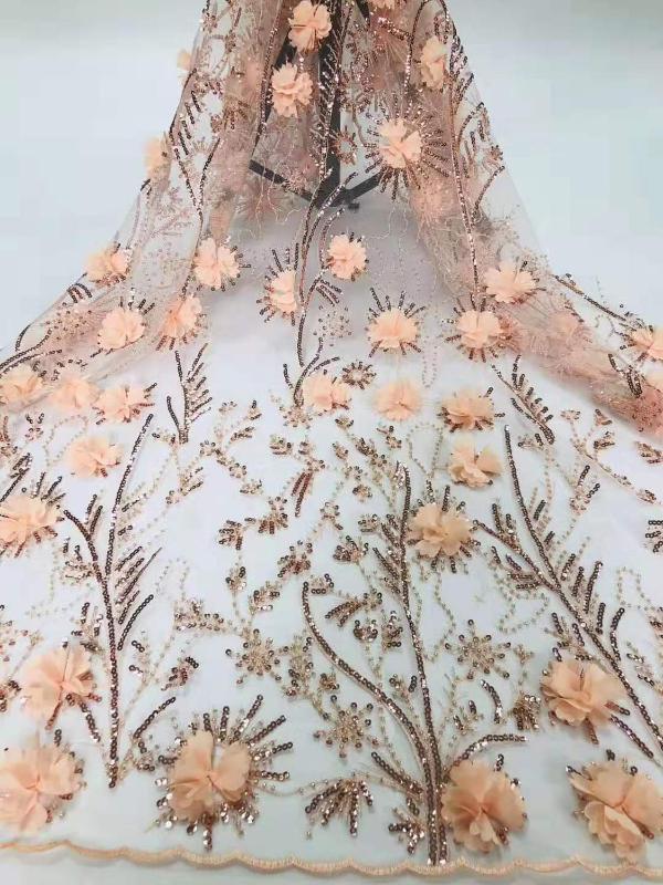Yeni yüksek kaliteli 3D şifon aplike payet boncuk nakış Fransız örgü Afrika dantel kumaştır DIY elbise düğün etek kumaşı