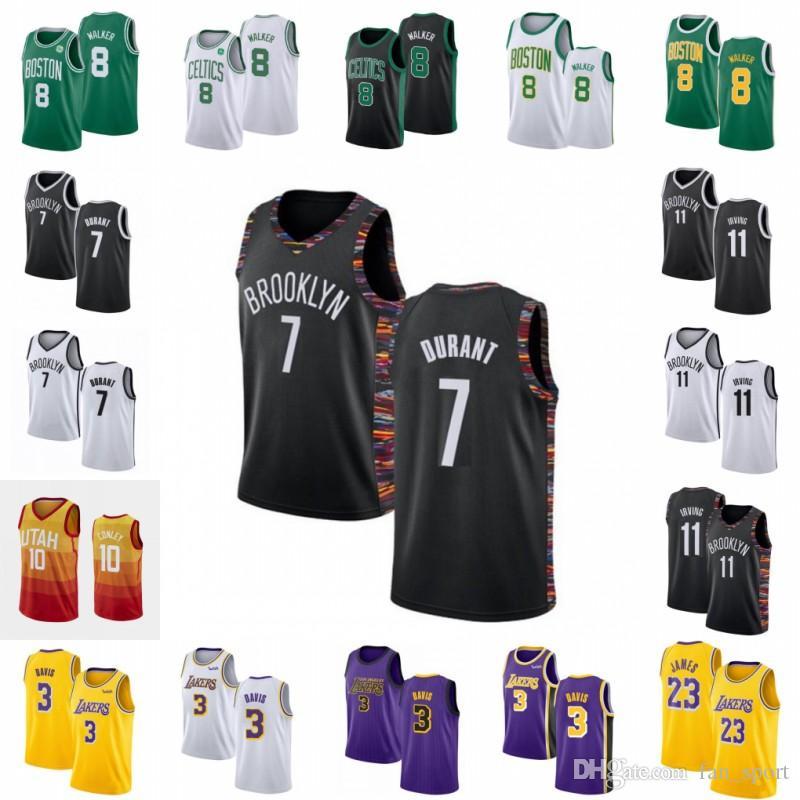 NCAA Kemba 8 Yürüteç Kevin 7 Durant Kyrie Erkekler 11 Irving Formalar 10 Conley LeBron 23 James Anthony 3 Davis Şehir Siyah Basketbol Nakış