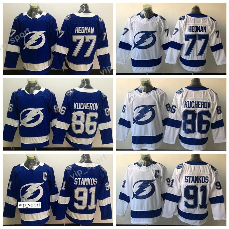 Tampa Bay Lightning Jerseys Hockey 91 Steven Stamkos 77 Victor Hedman 86 Nikita Kucherov Jersey Toda a qualidade branca azul costurada