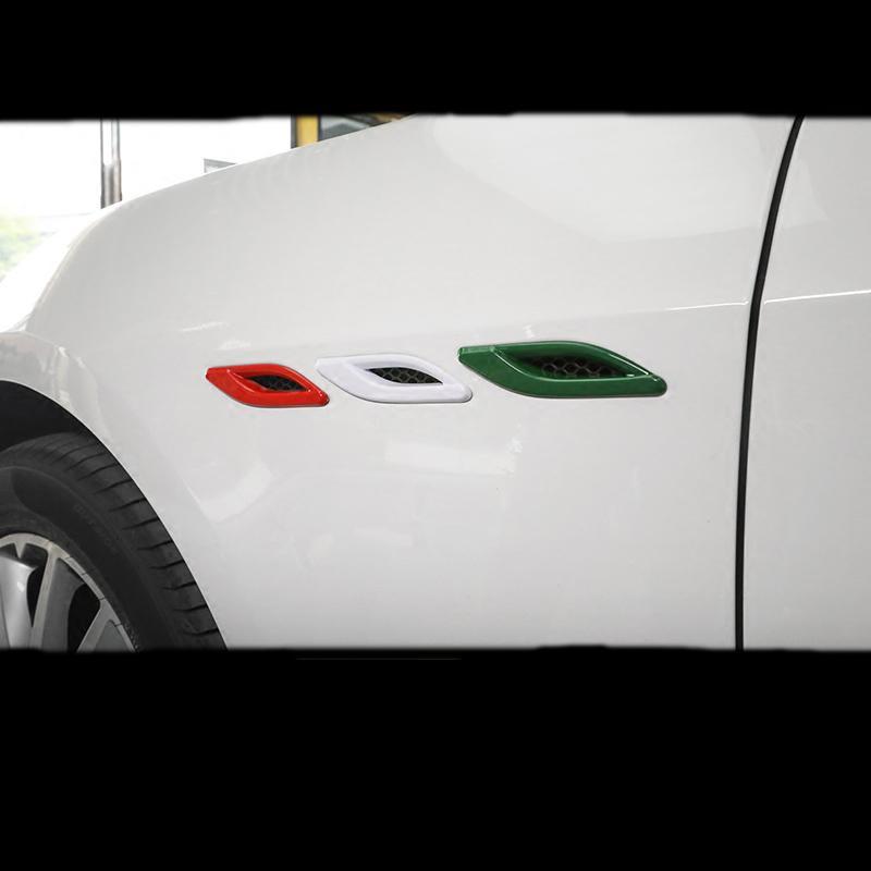 Автомобиль Styling Chrome ABS Side Wing Air Flow Marker Fender Воздухозаборник крышка уравновешивание приспособленные для Maserati Ghibli Quattroporte Автоаксессуары