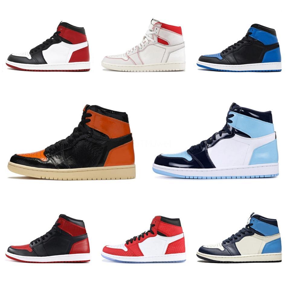 Jumpman 1 Travis Scotts Panda Obsidian мужская баскетбольная обувь Unc to Chicago 1S запрещенный разводной носок Мужские спортивные дизайнерские кроссовки 5.5-12 #285