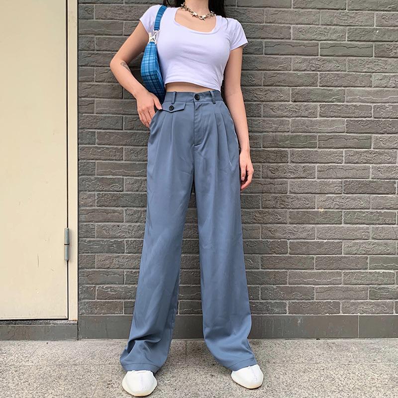 2020 Été Streetwear femmes Nouveau mode haute taille mince Pantalon droit Casual Streetwear Vêtements pour femmes