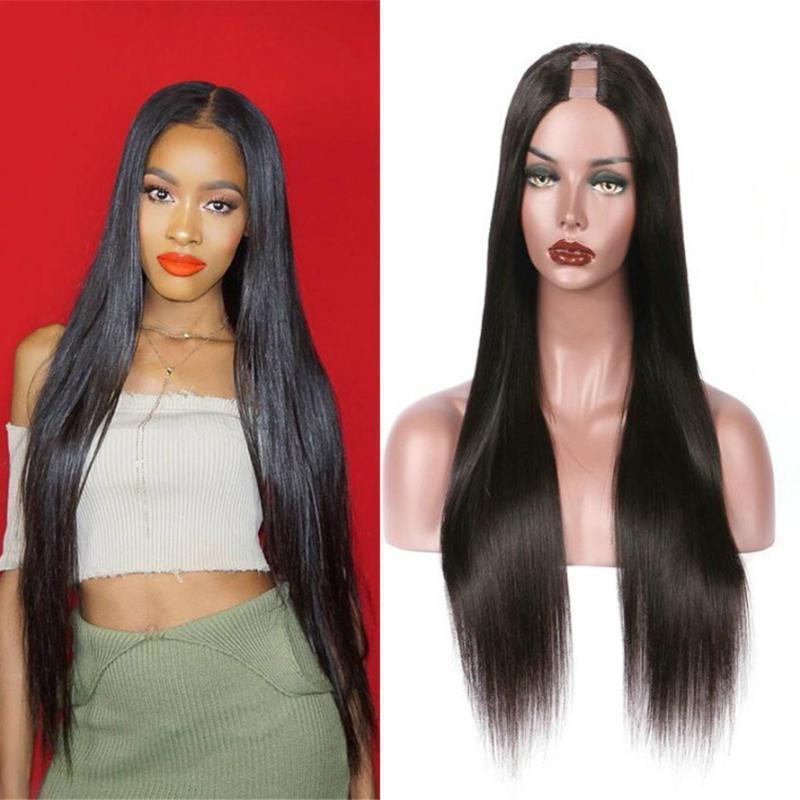 Virginal brasileño Upart pelucas de pelo sedoso Pelucas sin cola u Parte peluca Pre desplumados sin cola barato T humana Parte Para Mujeres Negro