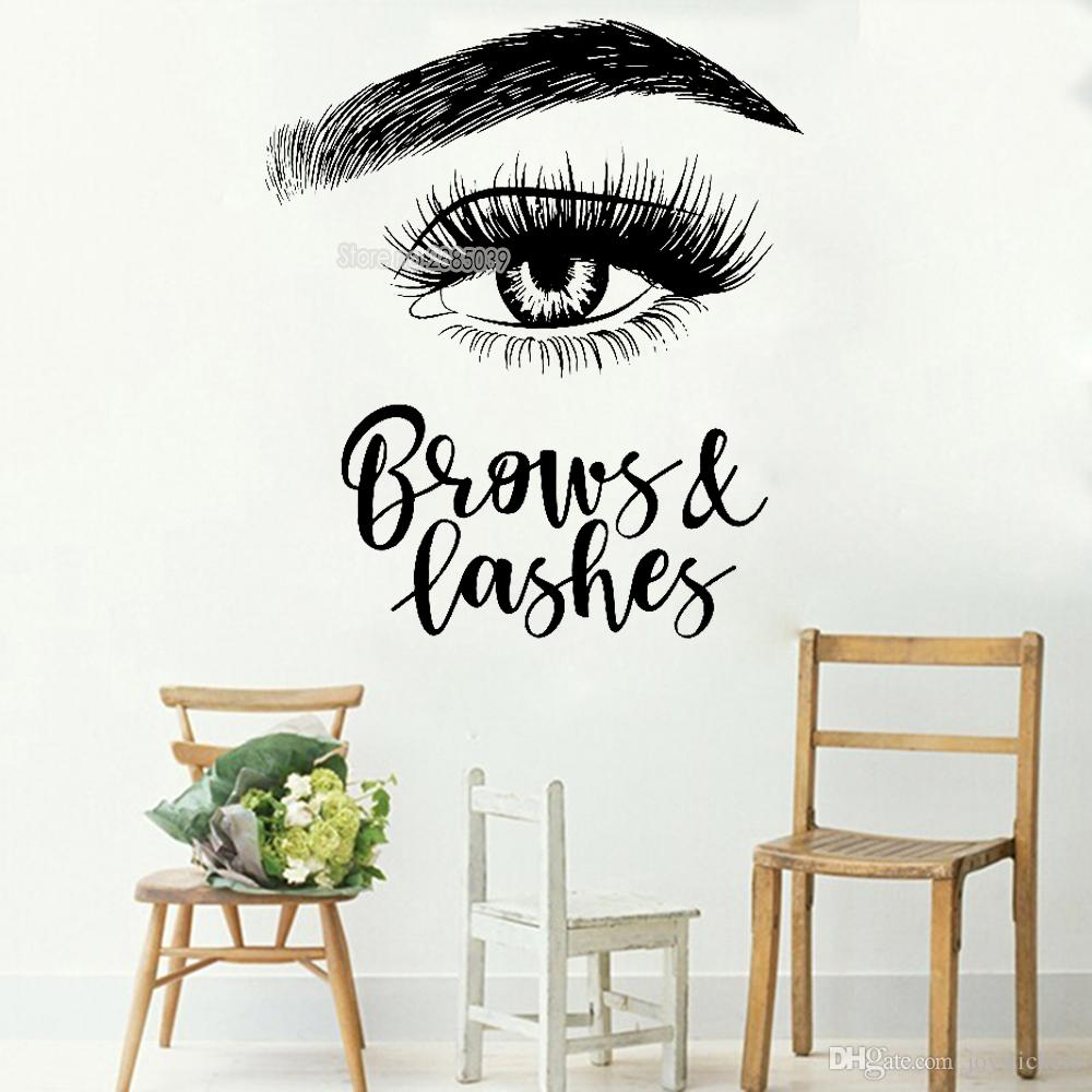 Left Eyelashes Decals Quotes Brows & Lashes Wall Stickers Beauty Shop Decor Sign Wall Decal Art Vinyl Bedroom Wallpaper