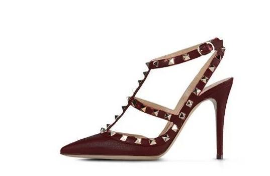 Maroon Gold Stud Heels Sandals V Pumps