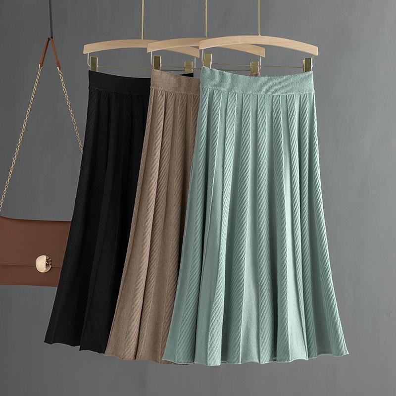 GIGOGOU chaud épais Femmes Jupes plissées Automne Hiver élastique taille haute pull en tricot Jupes longues Une ligne Midi Jupe noire V191111