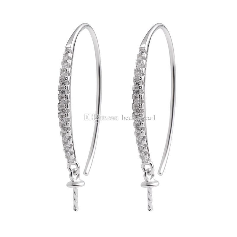 Earwire Descobertas 925 Sterling Silver gancho pérola brincos Semi montagem Cubic Zirconia jóias 5 pares
