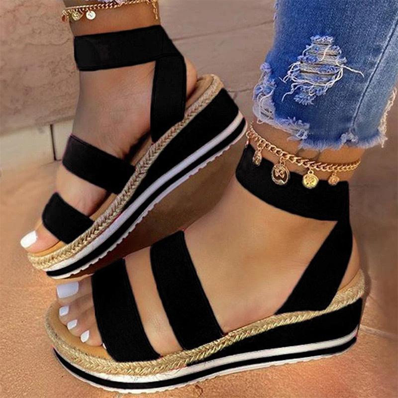 MCCKLE Sandalet Kadınlar takozları Platformu Şeker Renk Kenevir Kayış Haç Soğuk Kızlar Yeni Açık Bayanlar Yaz Casual Kayma Ayakkabı