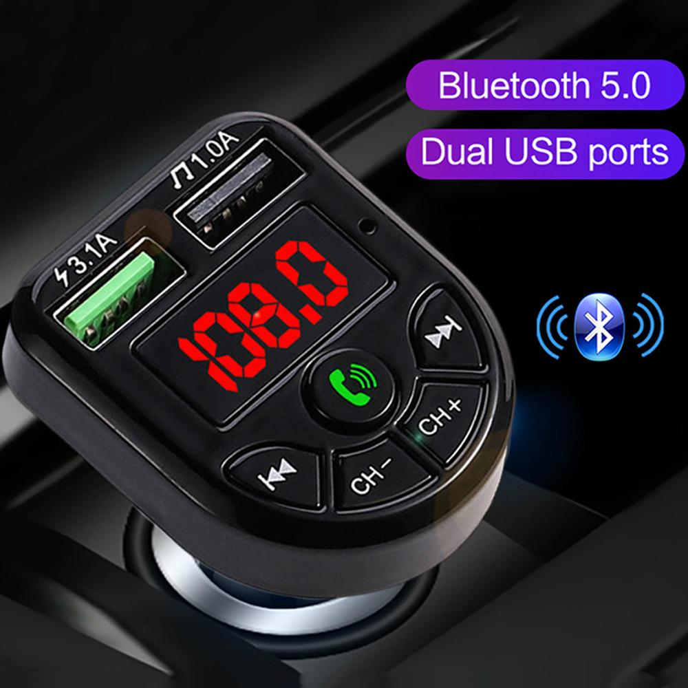 Bluetooth 5.0 FM Transmitter Auto Kit MP3-Modulator-Spieler-drahtloser freihändiger Audioempfänger 2.1A Doppel-USB-Schnell-Ladegerät
