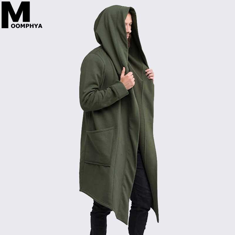 Mantle Streetwear Hoodie Long Male Black mens Hooded Cloak Hip Hop Longline Sweatshirt Sudadera Hombre Cardigan hoodies