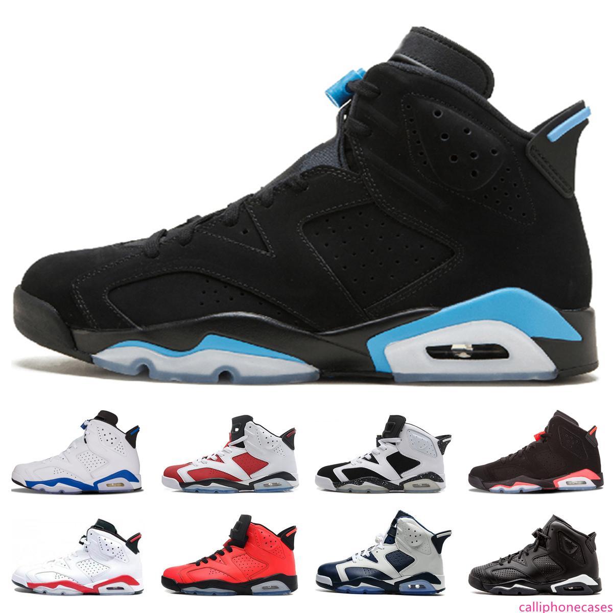 Hot 6 UNC Mens Basketball Shoes 6s Infrared Black Cat Angry bull Alternate Olympic Oreo Carmine Sport Blue 2019 Designer Athletics Sneakers