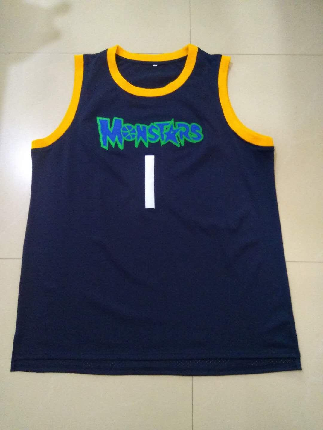 huge selection of 2e1e8 7d853 Cheap Customize Monstars Squad Basketball Jersey Monsters Space Jam Movie  Stiched Blue XS-5XL