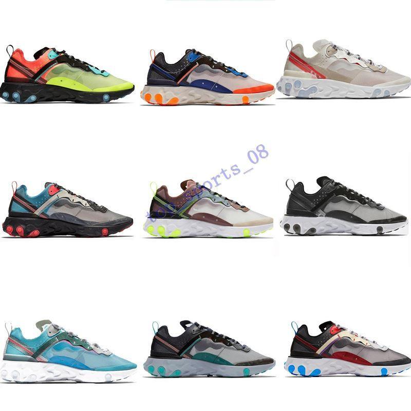 2019 Undercover X Próximos React Element 87 Pacote Branco Sneakers Homens Mulheres Trainer Homens Mulheres Correndo Tênis Zapatos 2018 Novo