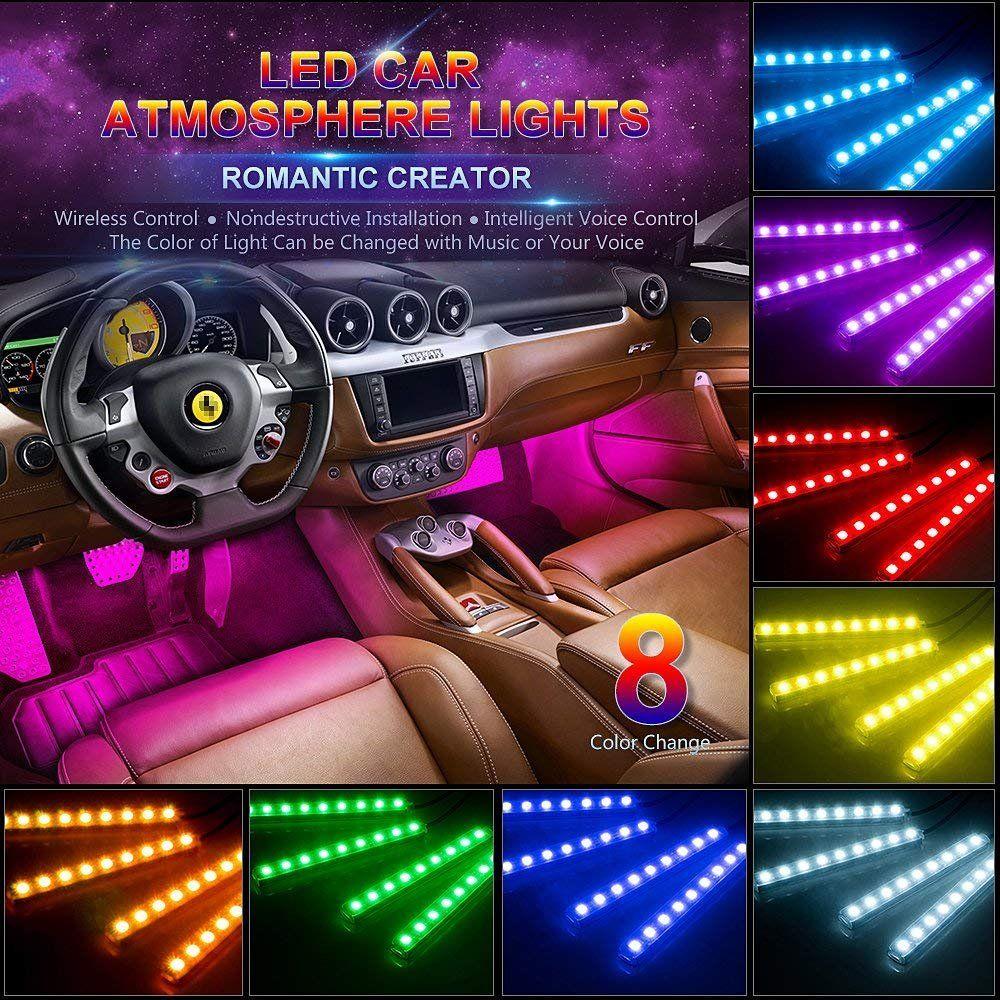 자동차 Led 스트립 조명 4pcs 48 LED 여러 가지 빛깔의 음악 인테리어 분위기 RGB SMD 자동차 기분 조명 TV 홈 -USB