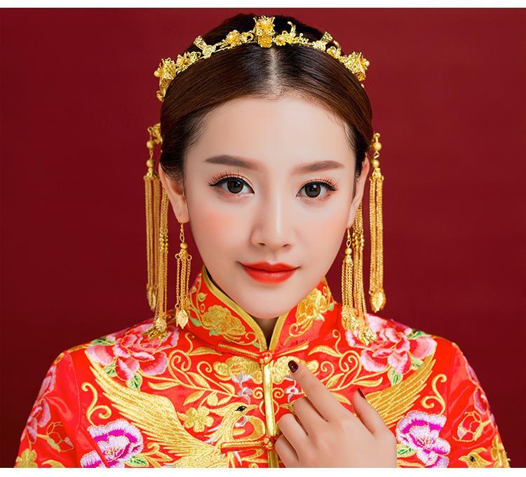 Sombrero clásico Estilo chino Boda Accesorios para el cabello Phoenix Coronet Color dorado Horquillas Pendientes Corona nupcial JCE067