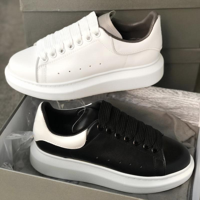 NEW designer Reflective White Platform Sneakers Mens Womens 100% real Leather Suede Raised sole Low top Trainers Flat Casual designer shoes