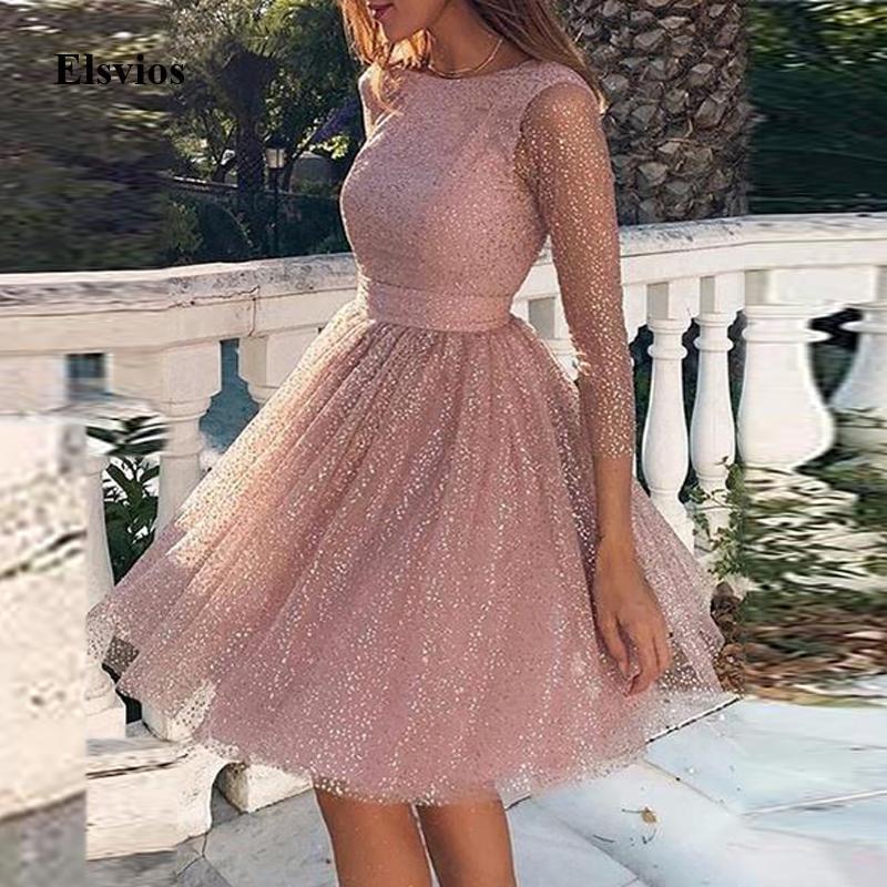 Femmes élégantes robe de soirée ous-col sexy dentelle dentelle dentelle dentelle a-ligne robe princesse robe printemps dames femmes manches transparentes mailles mini robes 3xl