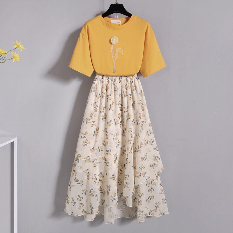 Mulheres 2020 Verão Camiseta 2 Pcs Set Tops de Manga Curta + Cintura Alta Sala de Impressão Floral Conjuntos Feminino Moda Saias Ruffled Terno L247