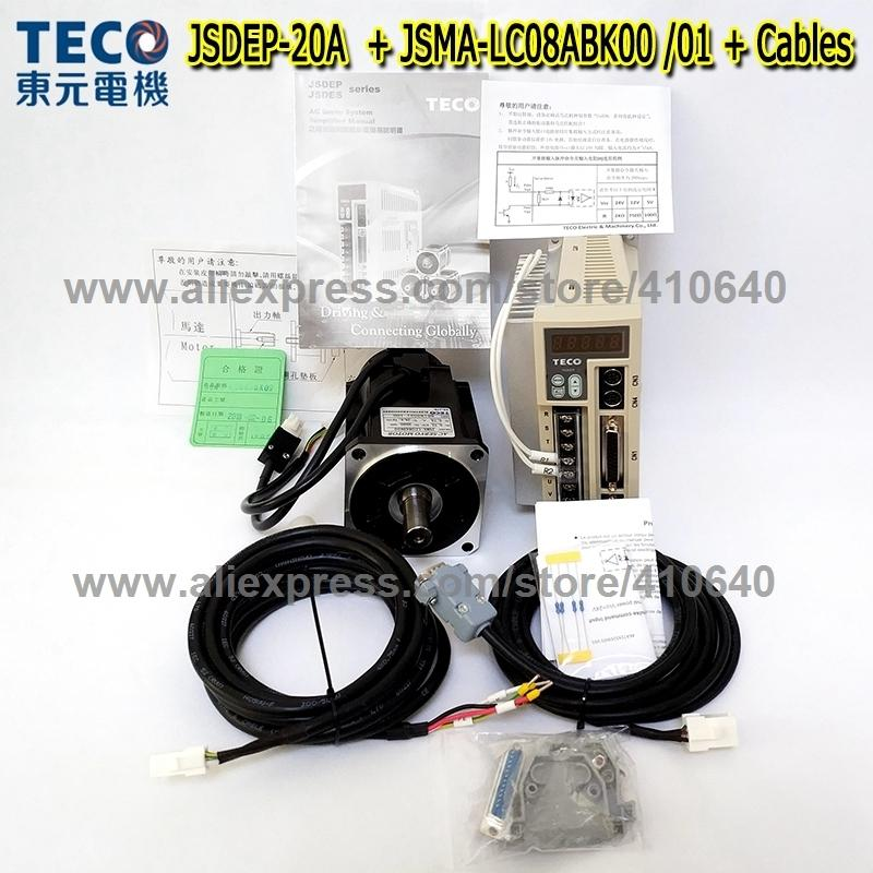 Genuine TECO 750W Servo Motor JSMA-LC08ABK01 or 00 And Servo Motor Drive JSDEP-20A with Cables MORE RELIABLE QUALITY AND SERVICE