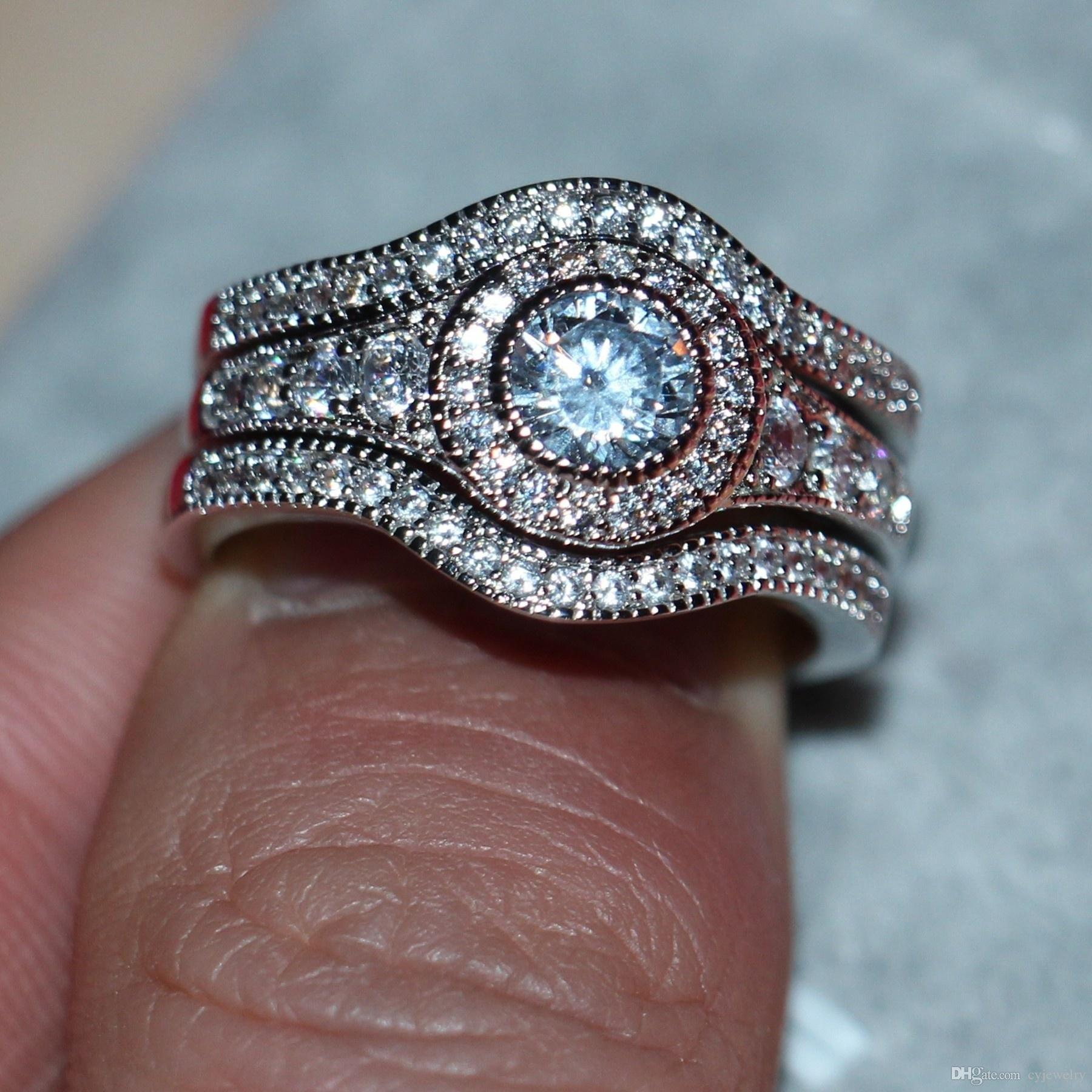 Luxe Femmes CZ 10KT Or Blanc Rempli taille ronde 6mm Diamant Engagement Bague Taille 5-12