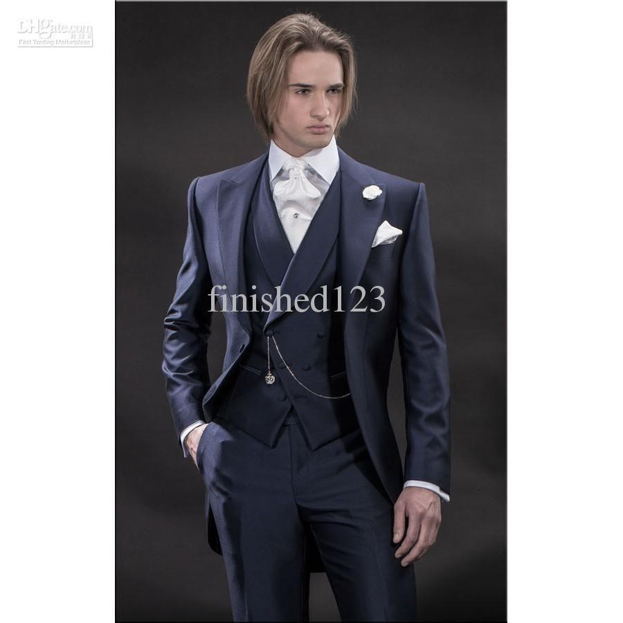 New Design Morning style Navy Blue Groom Tuxedos Groomsmen Men's Wedding Suits Best man Suits (Jacket+Pants+Vest+Tie) BM:921