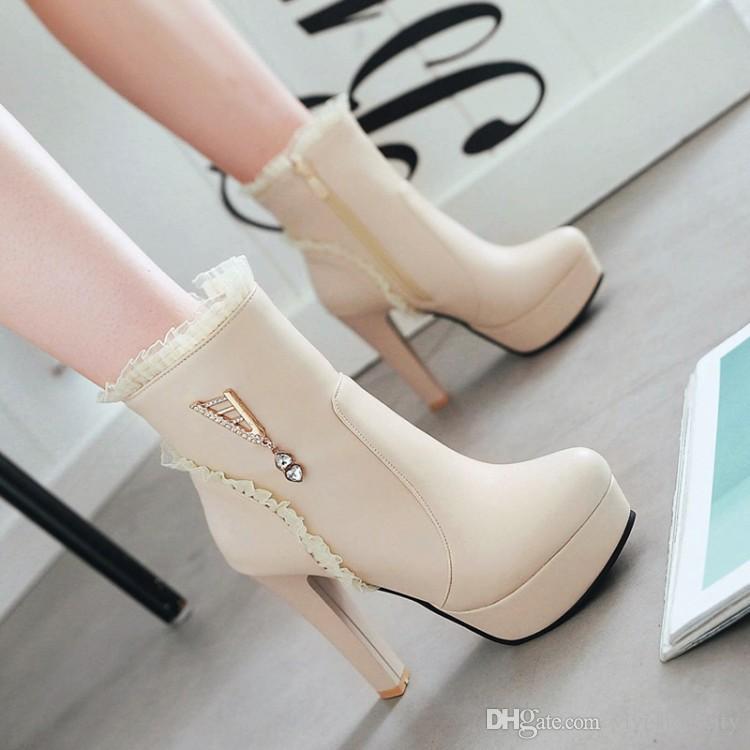 tamaño de 34 a 42 43 zapatos de boda de novia blanco amarillento rosado Chunky tacones botines del tobillo de las mujeres botas de diseño de lujo vienen con la caja