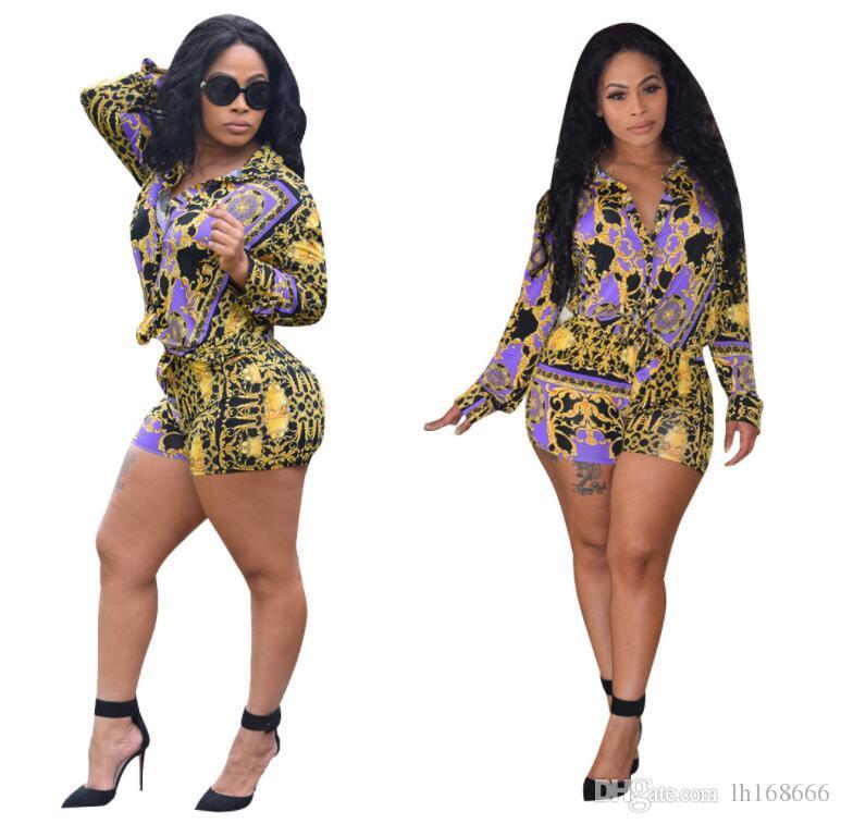 حار بيع قطعتين مجموعات طويلة الأكمام رفض طباعة قميص أعلى + السراويل الدعاوى مثير النساء ملابس رياضية خمر الأزياء وزرة