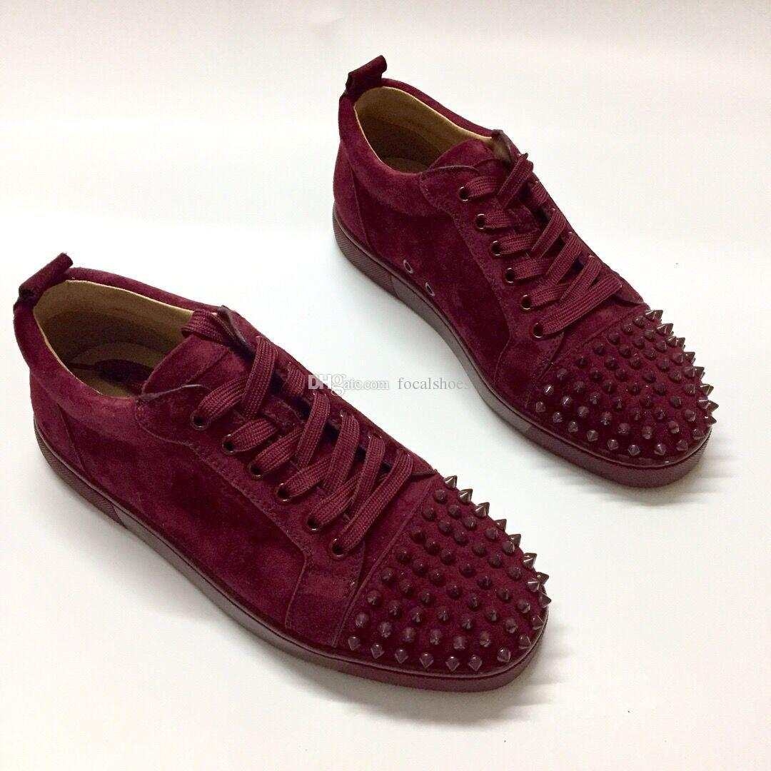 Red Bottoms Spike Sock Shoes Burgundy Velvet Leather Women Shoes Men Designer Shoes Fashion Luxury Women Sneakers Flat Red Rubber Sole
