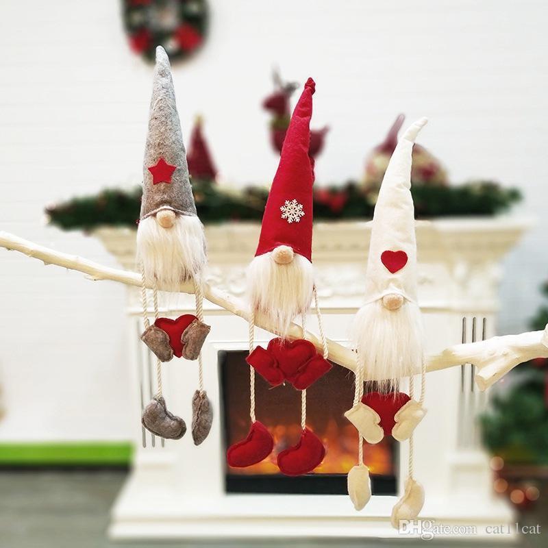 Figurines mesa de Santa Adornos de Navidad de punto Sentado Tomte Gnome muñeca decoraciones navideñas presentan decoraciones de Navidad