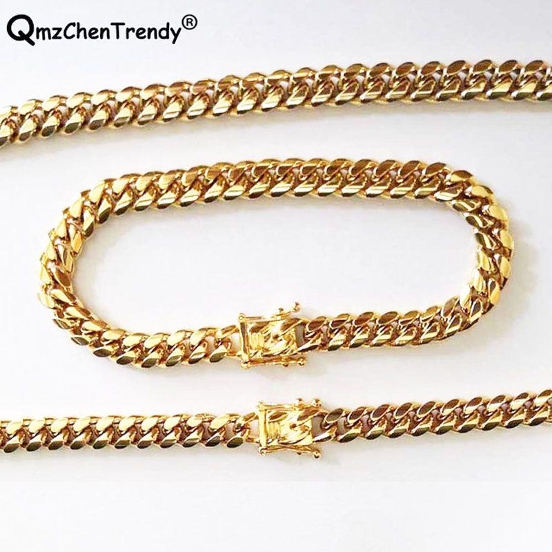 12 мм хип-хоп мужчины комплект ювелирных изделий майами кубинский обуздать звено цепи ожерелья браслет из нержавеющей стали золотой мужской замок застежка ожерелье