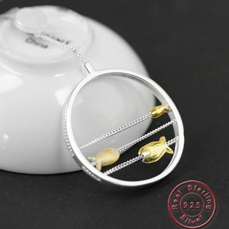 Amxiu 100% 925 jóias de prata Handmade colar de peixe pingente de colar para mulheres meninas presentes de festa de aniversário acessórios do casamento
