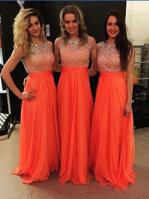 2020 anaranjado brillante con cuentas vestidos de honor Una línea de piso gasa Longitud de cuello redondo dama de honor de la boda del vestido de boda de visitantes Por País