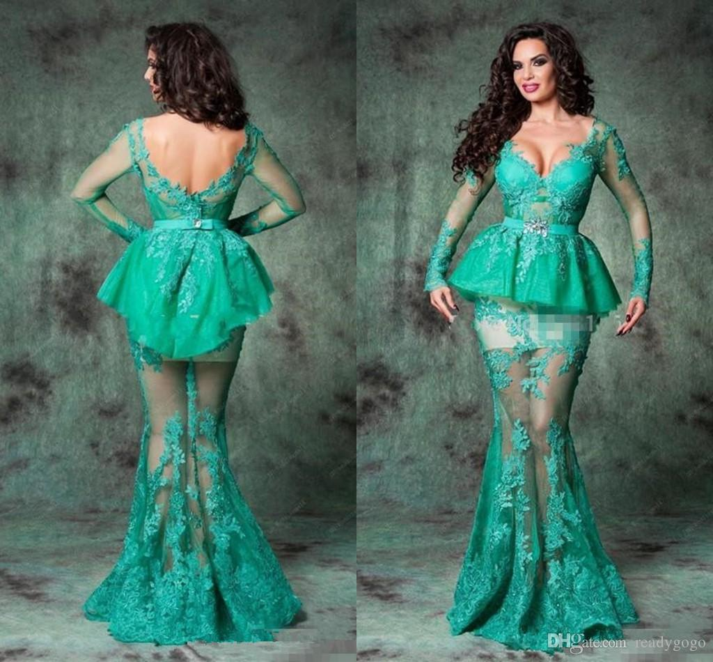 2019 Backless Arabic Romania Lace Evening Gowns Mermaid Lace Long Sleeve Evening Dresses V Neck Floor Length Sexy Hot Prom Dresses